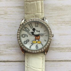 Disney Parks Mickey Mouse Jeweled Watch Leather